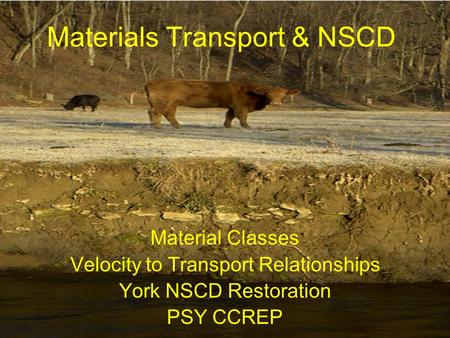 Materials Transport & NSCD Material Classes Velocity to Transport Relationships York NSCD Restoration PSY CCREP.