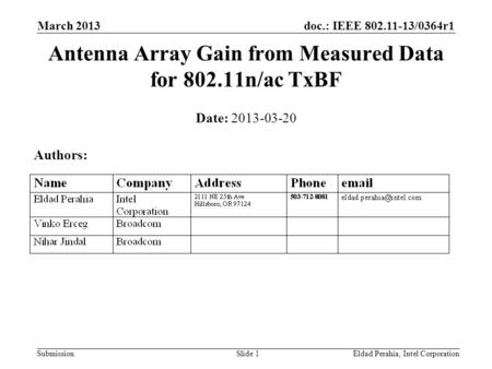Doc.: IEEE 802.11-13/0364r1 SubmissionEldad Perahia, Intel CorporationSlide 1 Date: 2013-03-20 Authors: Antenna Array Gain from Measured Data for 802.11n/ac.