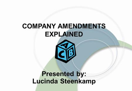 COMPANY AMENDMENTS EXPLAINED Presented by: Lucinda Steenkamp.
