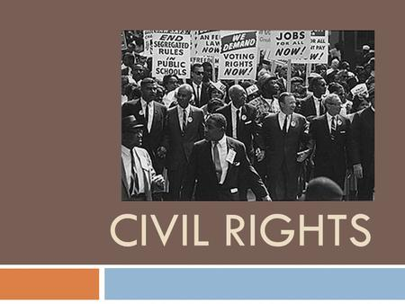 CIVIL RIGHTS. Civil Rights  Slavery, Missouri Compromise  Dred Scott(1856)  Civil War  Post Civil War Amendments  Reconstruction, 1877 Compromise,