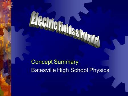 Concept Summary Batesville High School Physics. Electric Fields  An electric charge creates a disturbance in the space around it - an electric field.