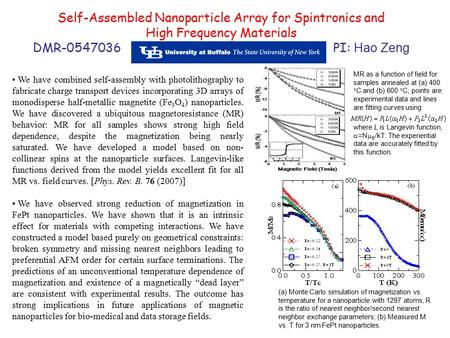 Self-Assembled Nanoparticle Array for Spintronics and High Frequency Materials DMR-0547036 PI: Hao Zeng We have combined self-assembly with photolithography.