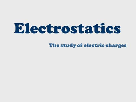 Electrostatics The study of electric charges. The Three Subatomic Particles – A Review Proton – Positive Charge (+), p + Neutron – No Charge (0), n 0.