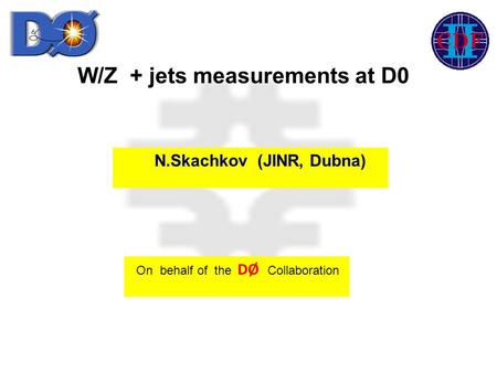 W/Z + jets measurements at D0 On behalf of the DØ Collaboration N.Skachkov (JINR, Dubna)
