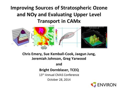 Template Improving Sources of Stratospheric Ozone and NOy and Evaluating Upper Level Transport in CAMx Chris Emery, Sue Kemball-Cook, Jaegun Jung, Jeremiah.