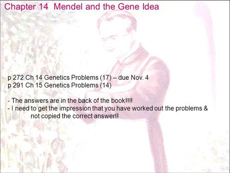 Chapter 14 Mendel and the Gene Idea p 272 Ch 14 Genetics Problems (17) – due Nov. 4 p 291 Ch 15 Genetics Problems (14) - The answers are in the back of.