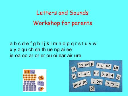Letters and Sounds Workshop for parents a b c d e f g h I j k l m n o p q r s t u v w x y z qu ch sh th ue ng ai ee ie oa oo ar or er ou oi ear air ure.