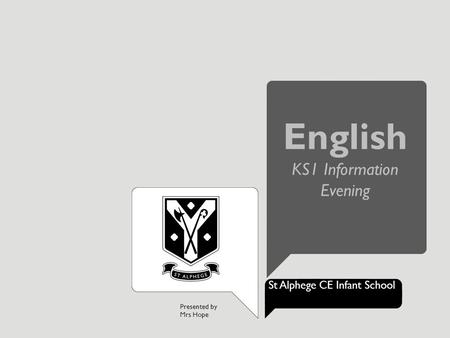Presented by Mrs Hope St Alphege CE Infant School English KS1 Information Evening.