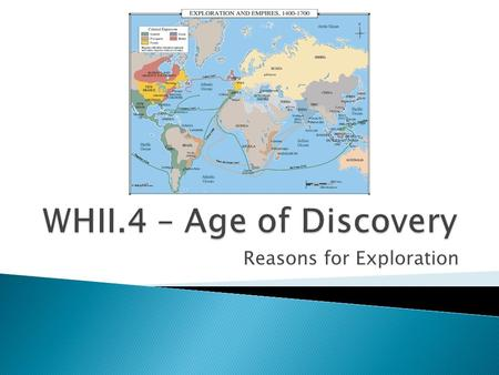 Reasons for Exploration.  What are some reasons people move?  How much of the world do you think Europeans knew about in the 1500s?  What are some.