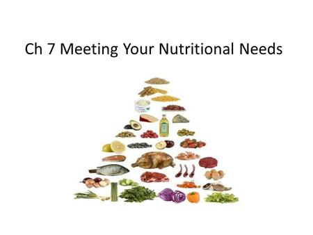 Ch 7 Meeting Your Nutritional Needs. RDA? Recommended Dietary Allowances – What you need to eat that will meet the needs of almost all healthy people.