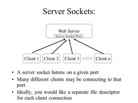 Server Sockets: A server socket listens on a given port Many different clients may be connecting to that port Ideally, you would like a separate file descriptor.