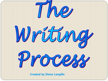 Created by Diane Langille. Prewriting Drafting Revising Editing Presenting.