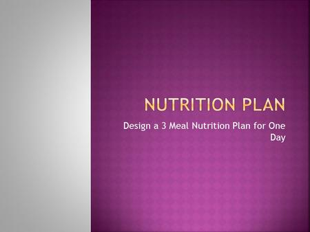 Design a 3 Meal Nutrition Plan for One Day.  Your Plan Must Include:  Your Nutritional Needs: Your Body Mass Index (BMI) Calories/Day recommended for.