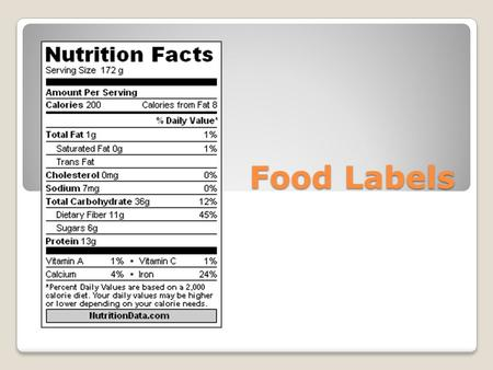 Food Labels. Nutrition Facts Labels The FDA requires any food sold in a package to include a Nutrition Facts label This partial label shows the serving.