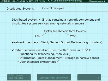 9.351 Systems Analysis & DesignDistributed Systems & User Interface1 Distributed Systems Distributed system = IS that contains a network component and.