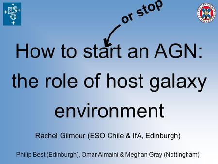 How to start an AGN: the role of host galaxy environment Rachel Gilmour (ESO Chile & IfA, Edinburgh) Philip Best (Edinburgh), Omar Almaini & Meghan Gray.