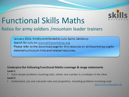Functional Skills Maths Ratios for army soldiers /mountain leader trainers Underpins the following Functional Maths coverage & range statements Level 1.