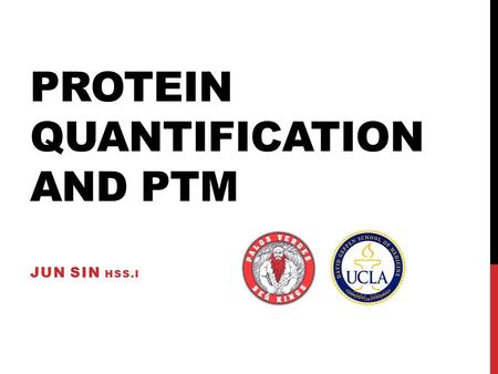 PROTEIN QUANTIFICATION AND PTM JUN SIN HSS.I. PROJECT 1.