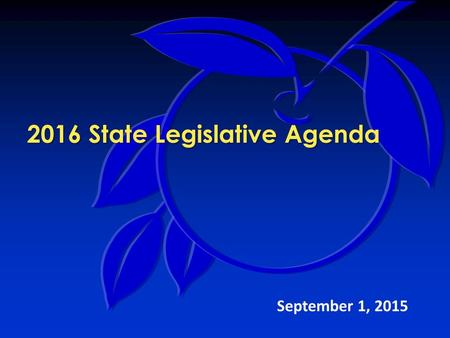 2016 State Legislative Agenda September 1, 2015. 2016 Legislative Agenda Legislative Team Mission:  Identify proposals that impact the county's provision.