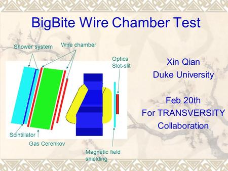 BigBite Wire Chamber Test Xin Qian Duke University Feb 20th For TRANSVERSITY Collaboration Wire chamber Gas Cerenkov Shower system Scintillator Magnetic.