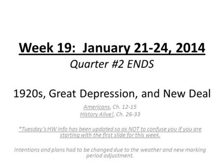 Week 19: January 21-24, 2014 Quarter #2 ENDS 1920s, Great Depression, and <strong>New</strong> Deal Americans, Ch. 12-15 History Alive!, Ch. 26-33 *Tuesday's HW info has.