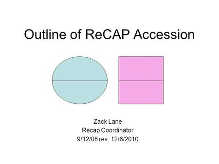 Outline of ReCAP Accession Zack Lane Recap Coordinator 9/12/08 rev. 12/6/2010.