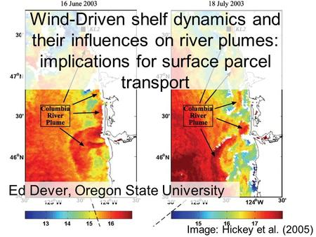 Wind-Driven shelf dynamics and their influences on river plumes: implications for surface parcel transport Ed Dever, Oregon State University Image: Hickey.