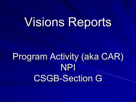 Visions Reports Program Activity (aka CAR) NPI CSGB-Section G.