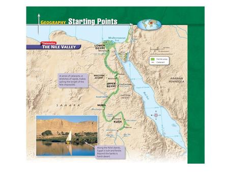 Geography of Egypt The Nile flooded every year –Predictable floodwaters with spring rains –Left rich, black silt Narrow band of fertile soil Became home.