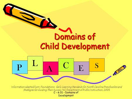 C - 6.01 - Domains of Development Domains of Child Development P L A C E S Information adapted from Foundations: Early Learning Standards for North Carolina.