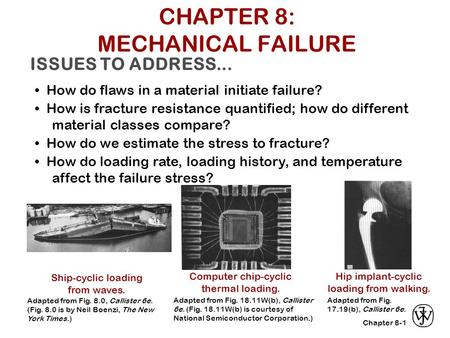 Chapter 8- ISSUES TO ADDRESS... How do flaws in a material initiate failure? How is fracture resistance quantified; how do different material classes compare?