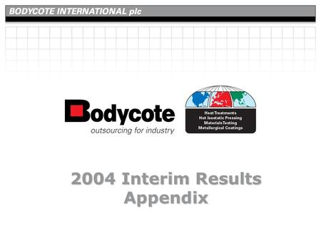 2004 Interim Results Appendix. slide number 2 Appendix 43 15 29 8 17 5 2 6 4 2 3 2 1 147 USA UK France Sweden Germany Netherlands Canada Czech Republic.