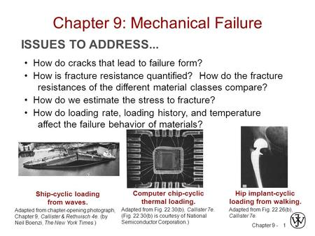 Chapter 9 - 1 ISSUES TO ADDRESS... How do cracks that lead to failure form? How is fracture resistance quantified? How do the fracture resistances of the.