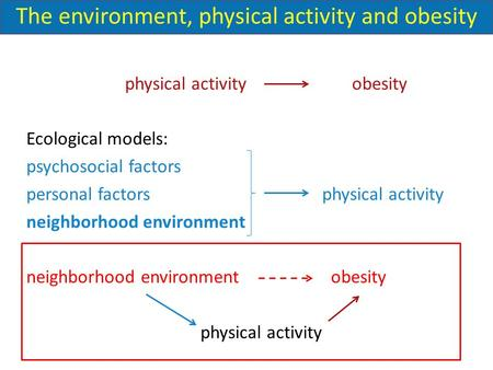 Physical activity obesity Ecological models: psychosocial factors personal factors physical activity neighborhood environment neighborhood environment.