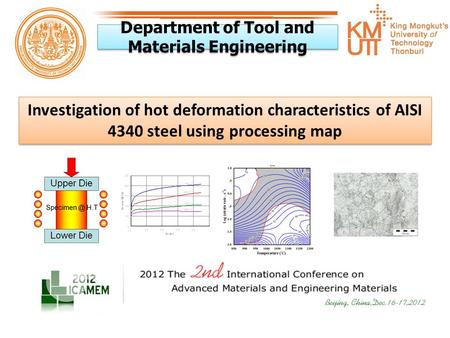 Department of Tool and Materials Engineering Investigation of hot deformation characteristics of AISI 4340 steel using processing map.