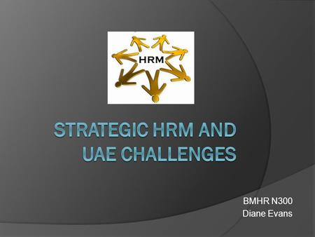 BMHR N300 Diane Evans. Objectives  Define the term 'strategic hrm'  Identify specific issues of shrm  Apply hr strategies to a case study.
