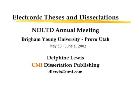 dissertations and thesis umi