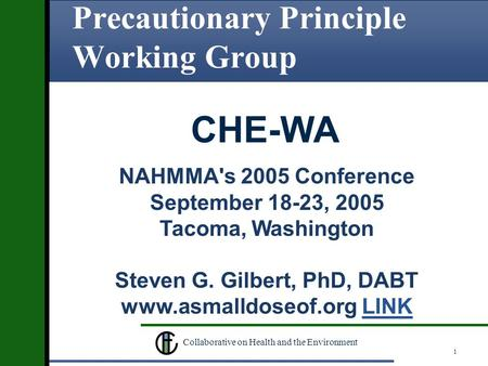 1 Collaborative on Health and the Environment Precautionary Principle Working Group NAHMMA's 2005 Conference September 18-23, 2005 Tacoma, Washington Steven.