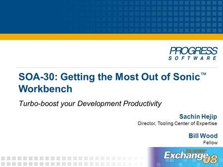 SOA-30: Getting the Most Out of Sonic ™ Workbench Turbo-boost your Development Productivity Sachin Hejip Director, Tooling Center of Expertise Bill Wood.
