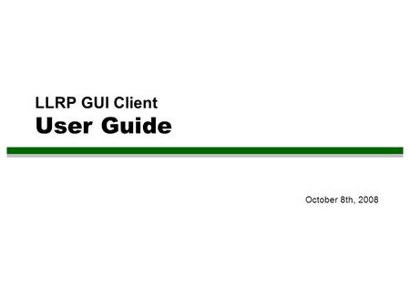 LLRP GUI Client User Guide October 8th, 2008. 2 Content 1.Install the Eclipse Plug-In 2.Setup Emulator Environment 3.Manage Reader 4.View Message History.