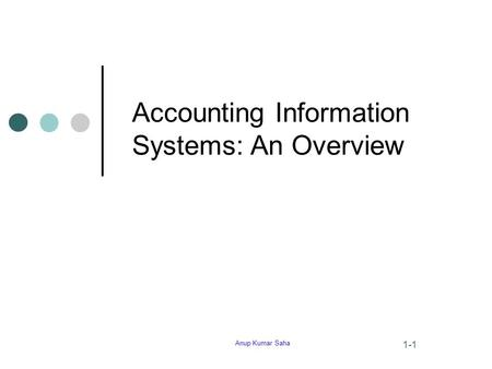 Anup Kumar Saha 1-1 Accounting Information Systems: An Overview.