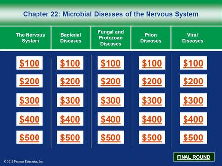 © 2013 Pearson Education, Inc. Chapter 22: Microbial Diseases of the Nervous System $100 $200 $300 $400 $500 $100$100$100 $200 $300 $400 $500 The Nervous.