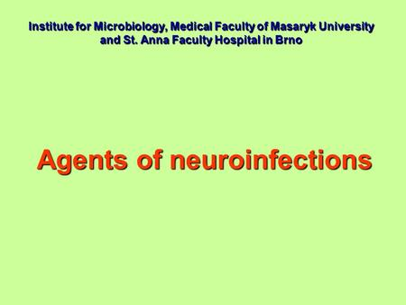 Agents of neuroinfections