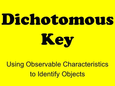 Dichotomous Key Using Observable Characteristics to Identify Objects.