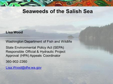 Lisa Wood Washington Department of Fish and Wildlife State Environmental Policy Act (SEPA) Responsible Official & Hydraulic Project Approval (HPA) Appeals.