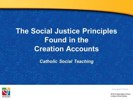 The Social Justice Principles Found in the Creation Accounts Catholic Social Teaching Document #: TX001943.