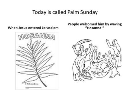 "Today is called Palm Sunday When Jesus entered Jerusalem People welcomed him by waving ""Hosanna!"""