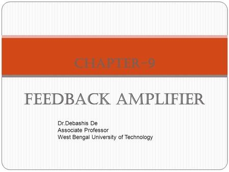 Chapter-9 Feedback Amplifier