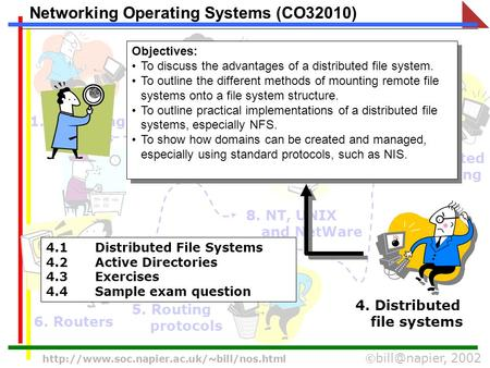 2002  Networking Operating Systems (CO32010) 1. Operating Systems 2. Processes and scheduling 3.