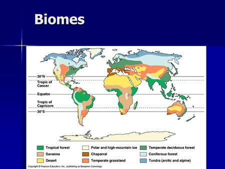 Biomes. Major Biomes Tropical rain forest Tropical rain forest Tropical dry forest Tropical dry forest Savanna Savanna Grassland Grassland Desert Desert.